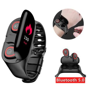 """Sport Watch 0.96"""" M1 AI Smart Watch with Bluetooth Earphone Heart Rate Monitor Smart Wristband Long Time Standby Wireless Earbud"""