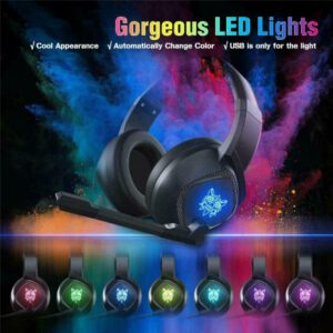 3.5mm Gaming Headset MIC LED Headphones for PC Laptops Slim Pro Wired Noise Canceling Headphone