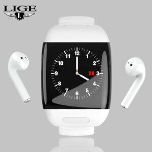 LIGE Sports Smart Watch With Bluetooth Wireless Earphone Smart Wristband Heart Rate Blood Pressure Monitor Smart Watch Men Women