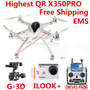 Highest Walkera QR X350 Pro Perfect RTF RC FPV Quadcopter + DEVO F12E Transmitter + iLook+ Camera + G-3D Brushless Gimble