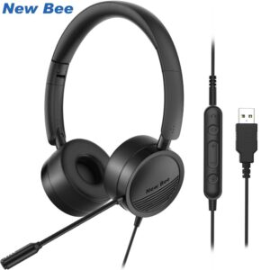 New Bee USB Headphone Foldable Headphones with Retractable Noise Canceling Mic Headset for Meetings Call Center