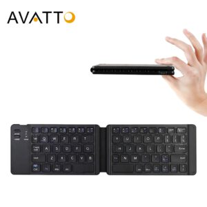 AVATTO Light-Handy Russian/English Bluetooth Folding Keyboard,Foldable Wireless Keypad For IOS/Android/Windows ipad Tablet phone