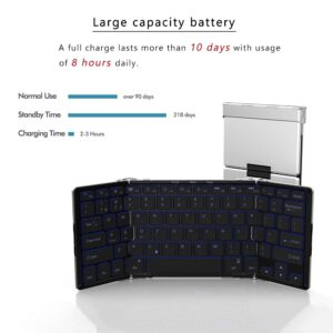 AVATTO 3 Color Backlit Bluetooth Portable Folding Keyboard,Aluminum alloy Foldable Mini Keyboard for Tablet ipad Phone Laptop PC