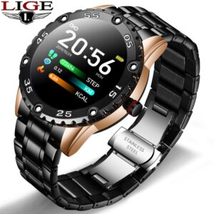 LIGE New Smart Watch Men IP67 Waterproof Heart Rate Fitness Tracker Pedometer For Android ios Steel Band Sports Men smart watch