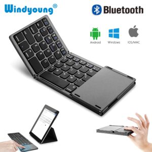 Foldable Bluetooth Wireless Keyboard with Touchpad Universal Portable Wireless Keyboard With Touchpad for Tablet PC Laptop iPad