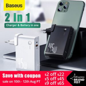 Baseus GaN Power Bank 10000mAh 2 in 1 USB Charger 45W PD Fast Charging Charger & Battery in one ForiP 11 Pro Laptop ForXiaomi