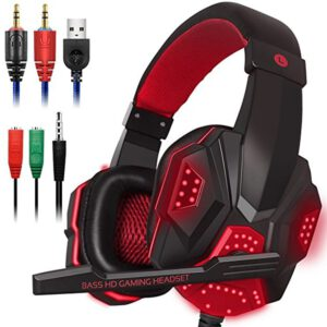 Wired Gaming Headset For PS4/XBOX ONE PC Phone Music Stereo LED Light Headphones With Mic Computer Gamer Headphone 3.5mm Wired