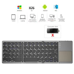 AVATTO B033 Mini folding keyboard Bluetooth Foldable Wireless Keypad with Touchpad for Windows,Android,ios Tablet ipad Phone