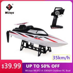 WLtoys WL912-A 35KM/H RC Boat 2.4G Radio-Controlled Speedboat Capsize Protection Outdoor Motor Racing Boat Ship Toy for Children